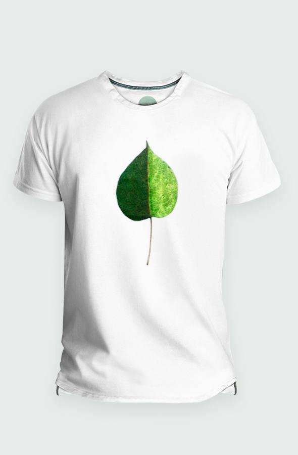 Camiseta Hombre Green Coloured Leaf Detalla diseño
