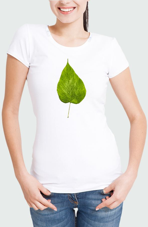 Women T-shirt Fluor Leaf Model