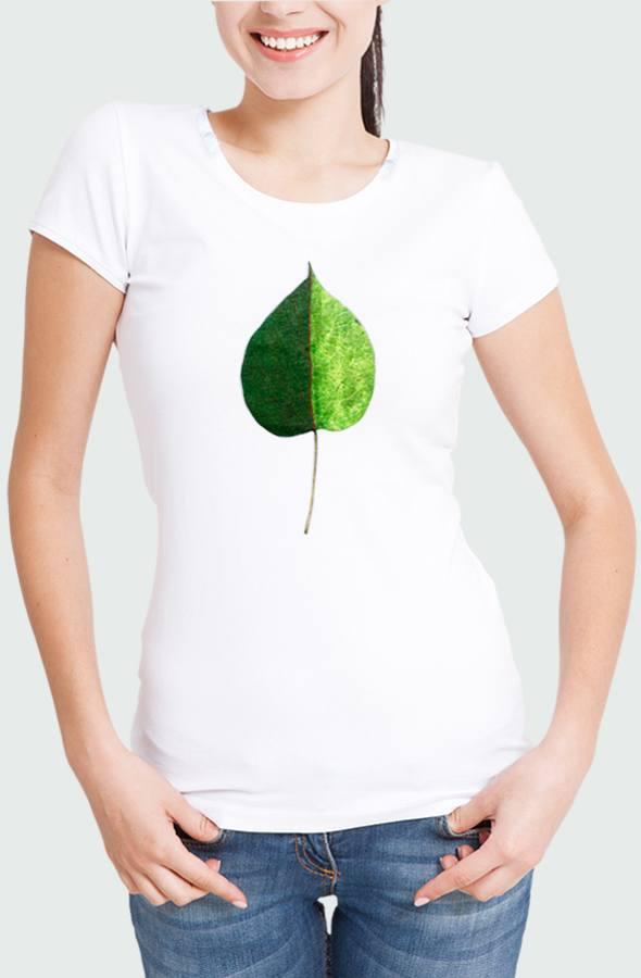 Women T-shirt Green Coulored Leaf Model