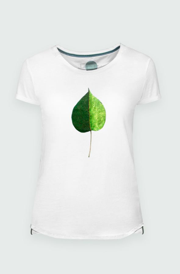 Women's T-shirt Green Coulored Leaf detail