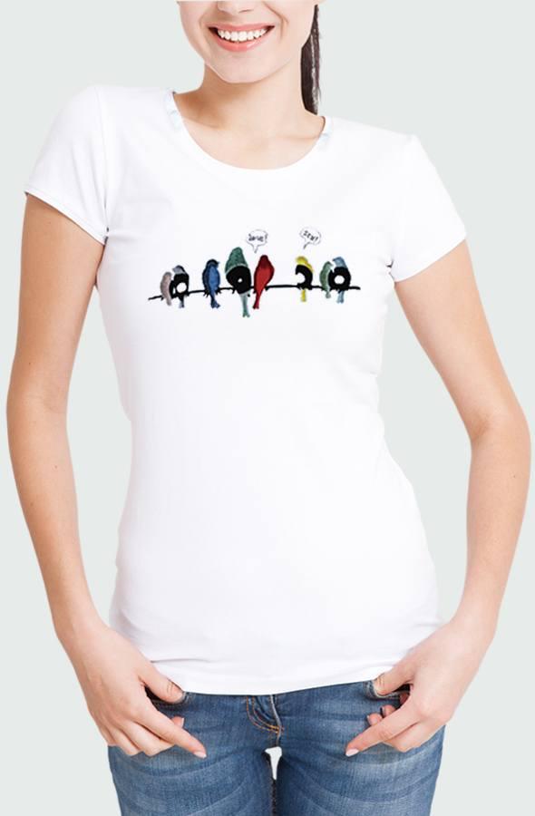 Women T-shirt Vynil Birds Model