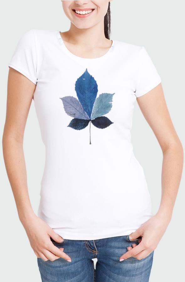 Women T-shirt Coulored Leaf Model