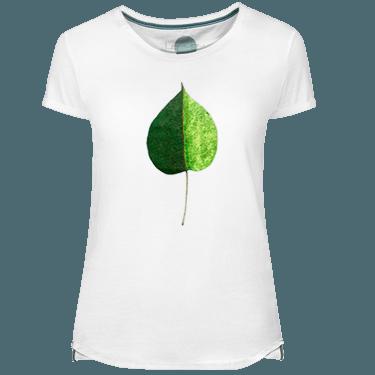 Green Coulored Leaf Women's T-shirt - Lefugu
