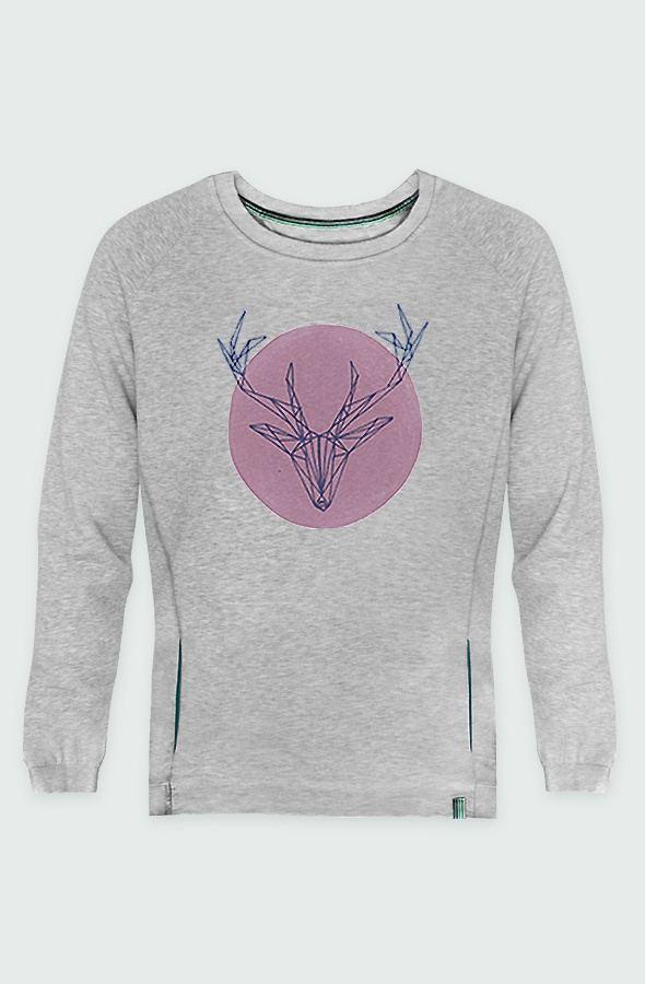 Sweatshirt Unisex Deer Pink Detail