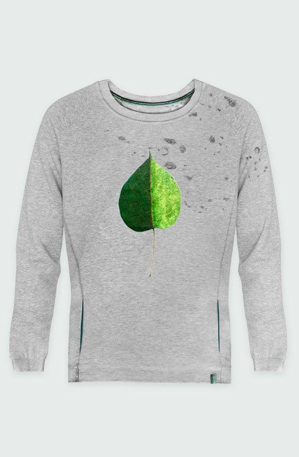 sudadera unisex devore green coloured leaf detalle